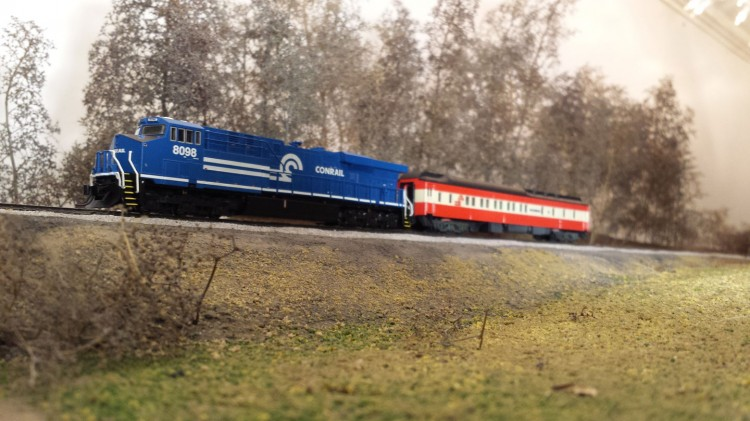 The final photo taken while it was still a shelf: an NS Heritage Unit powered Baconrail inspection trip.