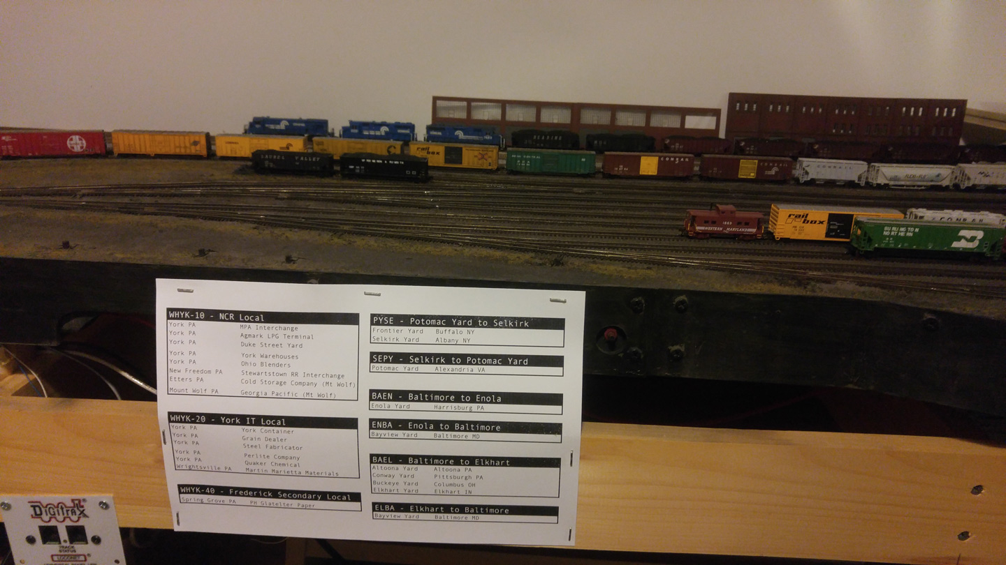 I printed out a copy of one of the cheat sheets and stapled it up where the Yardmaster can easily see it.