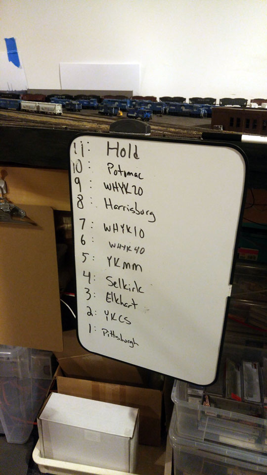 The yard crew's cheat sheet about which classification track is which.